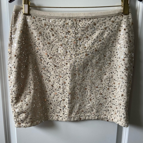 Cream mini skirt with gold/champagne sequins